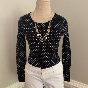 Talbots Polka Dot Shirt Long Sleeve Petite